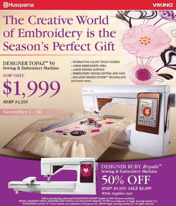 November 2018 - Creative World of Embroidery Topaz Ruby Sale